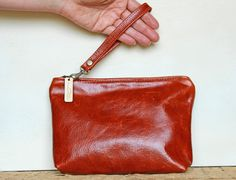 Small Brown Leather Wristlet, Leather Clutch, Clutch with Removable Strap