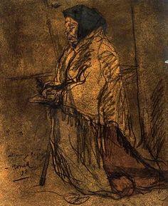 """""""Rezo de una infeliz, 1897"""". Carboncillo y acuarela. 39,7 x 27,9 cms. Gabinete de Dibujos y Grabados del MNAC, Barcelona. España."""