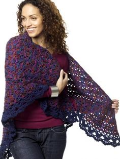 """""""Harlequin Shawl."""" Crochet pattern using Caron Simply Soft. This is beautiful, I'm thinking of making this to wear to Mass."""