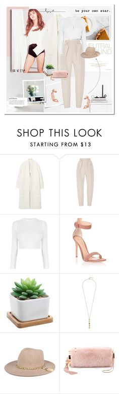 """Be your own star"" by girl-with-ideas ❤ liked on Polyvore featuring MANGO, Delpozo, Gianvito Rossi, Cole Haan, Monique Lhuillier, Fall, trend, 2016, neutral_color and minimist"