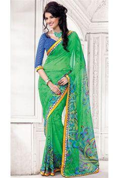 Georgette Green Designer Printed Saree