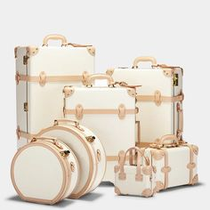 This white leather vintage-inspired luggage makes an elegant statement for the adventure-bound traveler. The crisp white and tan body opens to lift your spirits with a botanical print of foliage, flowers and birds. Cute Luggage, Cabin Luggage, Luggage Case, Vintage Luggage, Carry On Luggage, Travel Luggage, Travel Bags, Vintage Travel, Travel Backpack