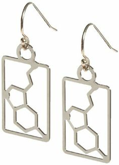 """Anatomology Serotonin Molecular Structure Earrings by Anatomology. $18.00. Sterling silver ear wires. Earrings come in velvet glass top box with informational card. Serotonin is a brain chemical that is associated with mood and sleep. Many anti-depressants work by elevating levels of serotonin. Measures 0.5"""" width by 0.8"""" height.. Save 25%!"""