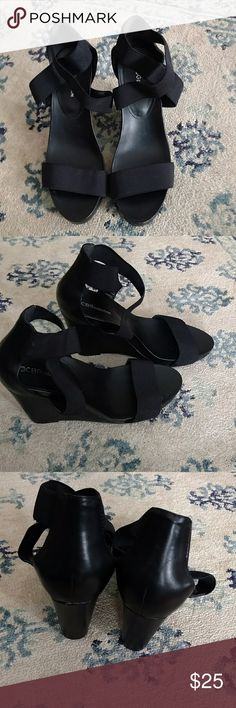 BCBGeneration Strappy Wedges Excellent used condition. Straps are stretchy. Slight scuffs on the heels as shown. Measurements shown in photo. BCBGeneration Shoes Wedges