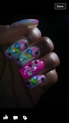 airbrush and rhinestone nail design
