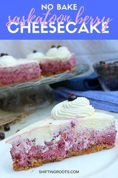 No bake saskatoon berry cheesecake is the perfect dessert for hot summer days. Fresh saskatoon berries and an easy cheesecake base make this a go-to recipe. Saskatoon Recipes, Saskatoon Berry Recipe, Easy Summer Desserts, Summer Dessert Recipes, Berry Cheesecake, Berry Pie, Cheesecake Desserts, Brunch, Savoury Cake