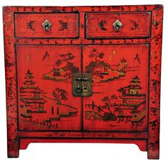 SOLD Red Lacquered Cabinet with Rural Idyll Painting, Shanxi Province, C19th