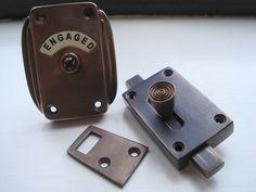 ANTIQUE FINISH VACANT ENGAGED TOILET BATHROOM LOCK BOLT INDICATOR DOOR KNOBS | eBay