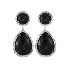 Majolie White Gold and Onyx Teardrop Earrings ($1,320) ❤ liked on Polyvore