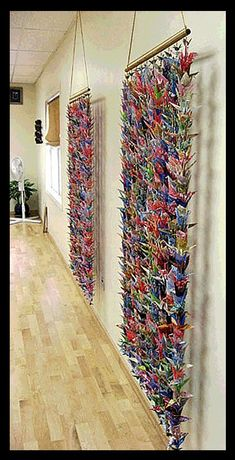 Origami Wall Art, Origami Paper Art, Hanging Origami, Origami Cranes, Origami Gifts, 1000 Paper Cranes, 1000 Cranes, Mobiles, Paper Crane Mobile