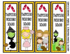 Wizard of Oz Themed Bookmarks - 8 Designs  THERE'S NO PLACE LIKE SCHOOL!