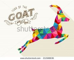 Chinese New Year of the Goat 2015 colorful geometric shape and retro vintage label. EPS10 vector file organized in layers for easy editing. - stock vector