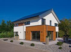 Haus FUTURE - Außenansicht Haus Mannheim - Fertighaus WEISS - Plusenergiehaus - Satteldach