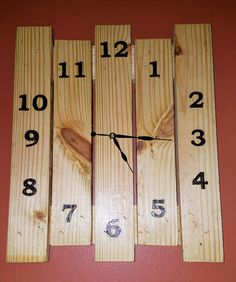 Rustic square wall clock solid wood slat/board/pallet hand stenciled burnt numbering/lettering