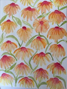 Echinacea flower pattern in watercour and ink by Joshy