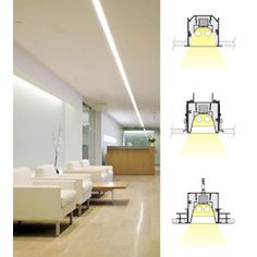 M100 Recessed Linear Fluorescent Light Fixture, Flanged Extrusion, Spackle Flange, Slot Grid, Aluminum by Selux