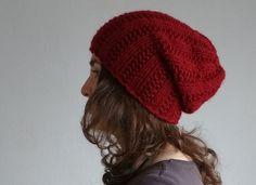 Winter Hat Marsala Red Knit Hat Red Beanie Hat by DragonflyStrand