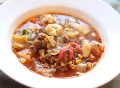 Italian Sausage and Tortellini Soup. Comfort food that is bursting with flavor. This recipe is really filling to so it is great for large families for for large groups. Such a delicious, healthy soup recipe that is freezer friendly! Slow Cooker Freezer Meals, Healthy Freezer Meals, Make Ahead Meals, Healthy Soup Recipes, Cooking Recipes, Catering Recipes, Dump Meals, Freezer Recipes, Fun Recipes