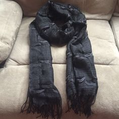 Black fringed scarf Measures 25x80 inches. Soft and beautiful. Acrylic. Brand new. Accessories Scarves & Wraps