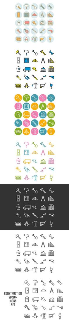 25 vector line construction icons