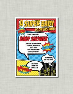 Superhero baby shower invitation boy comic pop by BusyChickadees, $12.00