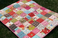 scrap quilt with easy straight line quilting.
