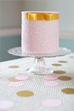 pink + gold cake