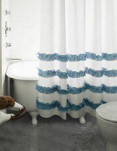 CustomLinensHandmade Natural Linen Shower Curtain With Ticking Stripe Ruffles White Blue Ruffle