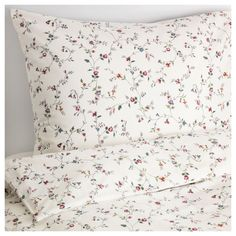 IKEA - LJUSÖGA, Duvet cover and pillowcase(s), Full/Queen (Double/Queen), , Cotton feels soft and nice against your skin.Concealed snaps keep the comforter in place.