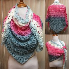 Pink and Blue Shell Stitch Crochet Shawl, Pink and Blue Crochet Shawl, Pink and Blue Crochet Wrap, Shell Stitch Wrap, Shell Stitch Shawl by CozyNCuteCrochet on Etsy