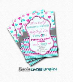 Birthday Invitation Hearts and Chevron by DazzleDesignGraphics, $10.00
