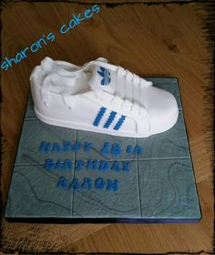 My version of an adidas trainer cake. https://www.facebook.com/SharonsCupcakeToppers/