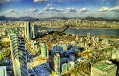 Gorgeous aerial view of Seoul, South Korea, with the 2nd most populated metropolitan area in the world!