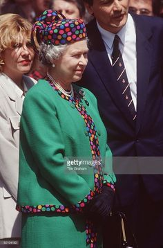 The Queen In Budapest, Hungary. The Queen's Hat Is By Marie O'regan And Her Suit Is By Fashion Designer Ian Thomas. 1993