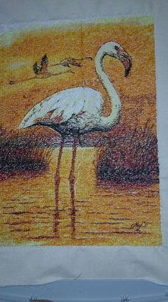 "Author: Margaret Bates‎        	Author comment: ""Just finished embroidering this flamingo. A beautiful design"""