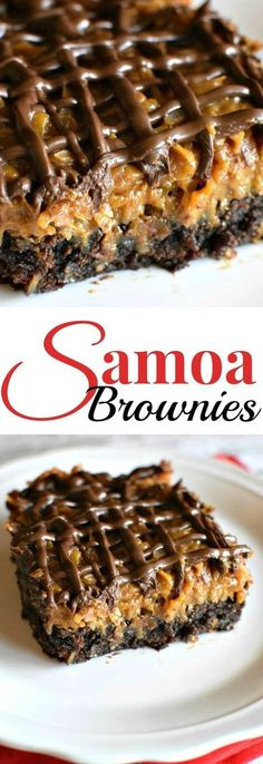 Samoa Brownies - These are amazing (and easy!) Samoa Brownies - These are amazing (and easy! Bon Dessert, Oreo Dessert, Dessert Bars, Appetizer Dessert, Baking Recipes, Cookie Recipes, Dessert Recipes, Milk Recipes, Box Brownie Recipes