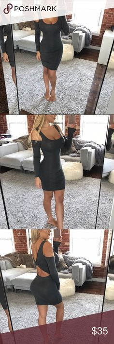 Charcoal cold sleeve dress Long sleeve charcoal cold shoulder dress. Soft material 97% viscose 3% spandex. Runs true to size. Dresses Mini