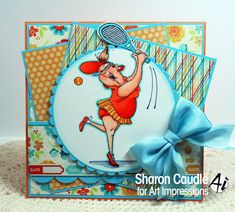 Art Impressions: Ai People: Birthday Love Set ... handmade tennis card.