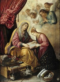 Juan de Roelas, Saint Anne Teaching the Virgin to Read (c. 1610)  What a lovely thought that two pets were members of the household of Jesus' grandparents. I wonder… did Mary favour the cat or the dog? Or did she love both equally, as she does all her...