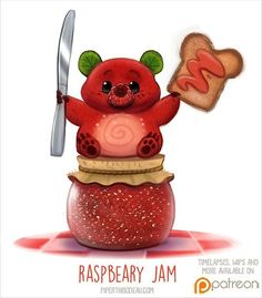Daily Paint 1516. Raspbeary Jam #illustration by Piper Thibodeau
