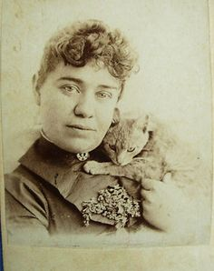 Victorian woman with her cat