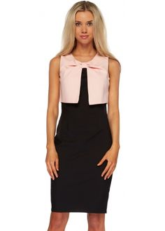d4a8557a4588 Paper Dolls Pink   Black Twist Bodice Pencil Dress Black Pencil Dress