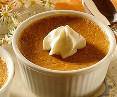 Surprise your guests with personal pumpkin custards instead of traditional pumpkin pie this fall. Pumpkin Recipes, Fall Recipes, Holiday Recipes, Gluten Free Desserts, Delicious Desserts, Dessert Recipes, Yummy Food, Pumpkin Custard, Pumpkin Pies