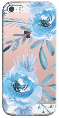 Casetify iPhone SE Classic Snap Case - Blue flowers. Watercolor by Julia Badeeva #Casetify