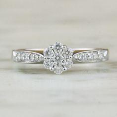 Vintage .31 Carat Diamond Flower Cluster Ring / by ArtifactVintage, $1295.00