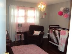 Pink & Gray Nursery Ideas. found: http://www.roomzaar.com/rate-my-space/Nurseries/Hadleys-Pink-and-Gray-Nursery/detail.esi?oid=15767344