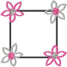 No 33 Retro Flower Frame Machine Embroidery Designs Machine Embroidery Quilts, Learn Embroidery, Hand Embroidery Designs, Vintage Embroidery, Embroidery Patterns, Butterfly Embroidery, Vintage Gothic, Retro Vintage, Lazy Daisy Stitch