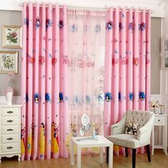 cartoon children room curtains for window screen cloth princess bedroom pink girl #Affiliate