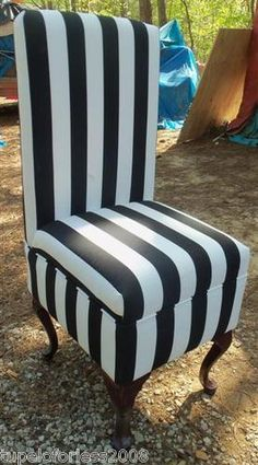 "Set Of 2 Black And White Stripe Dining Or Vanity Chair 40"" High Back New"