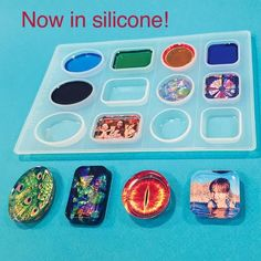 "Now made of quality silicone! Includes 4 mold shapes (3 cavities per), plus a cropping template. Medium Square and Circle Molds make castings about 1"", Rectangle and Oval Molds make castings about 1"""